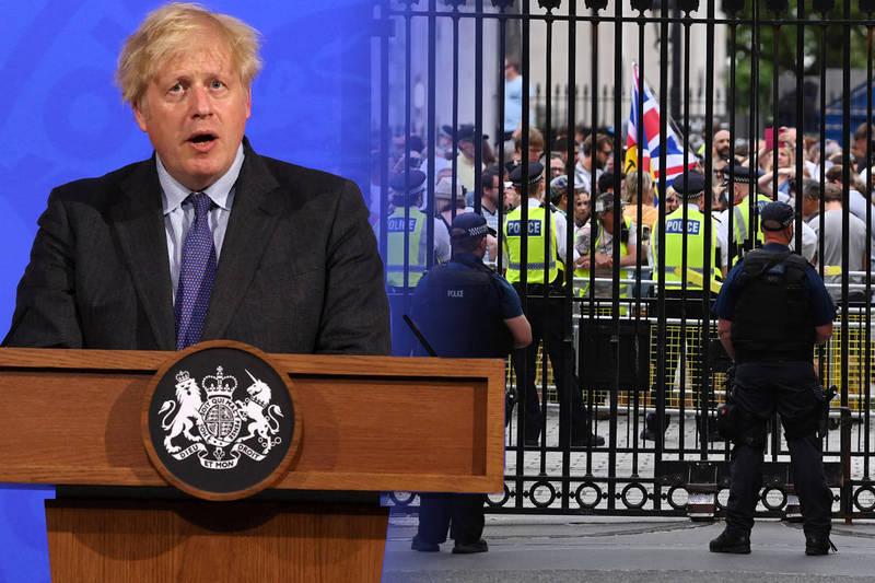 英國首相強森宣布,受到印度變種病毒疫情蔓延影響,英國延後解封1個月。(法新社、歐新社,本報合成)