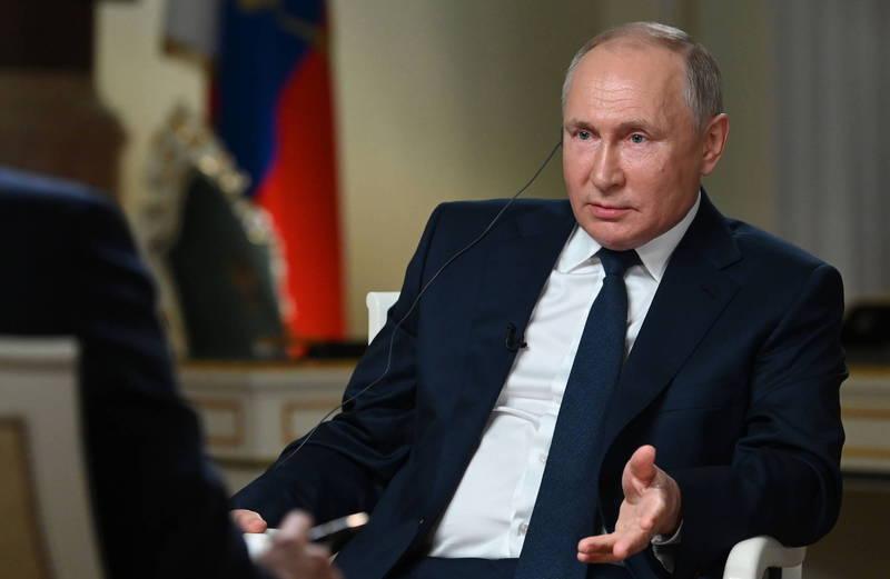 普廷日前接受《NBC》(美國廣播公司)專訪時被問及如果解放軍對台灣採取行動,俄羅斯將如何應對?普廷回答,他不能評論假設性的問題,他並說,幸運的是,目前還沒有發生衝突。(歐新社)