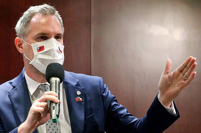 Prague Mayor Zdenek Hrib speaks at a news conference in Taipei on Sept. 4 last year. Photo: Ann Wang, Reuters