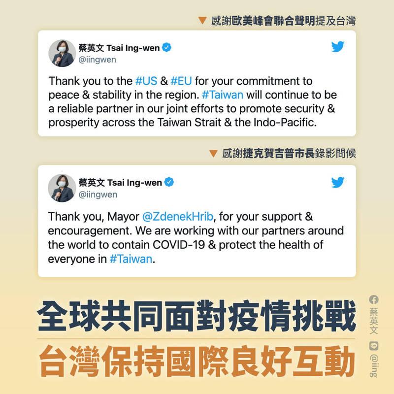 捷克首都布拉格市長賀吉普發影片替台灣加油,蔡英文親自留言致謝。(取自蔡英文臉書)