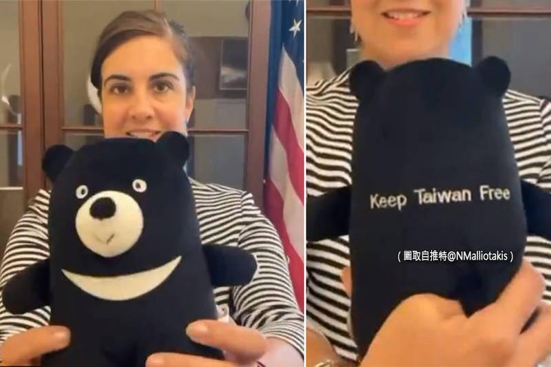 抱吉祥物挺台湾! 美众议员同框「熊赞」反对中国霸凌