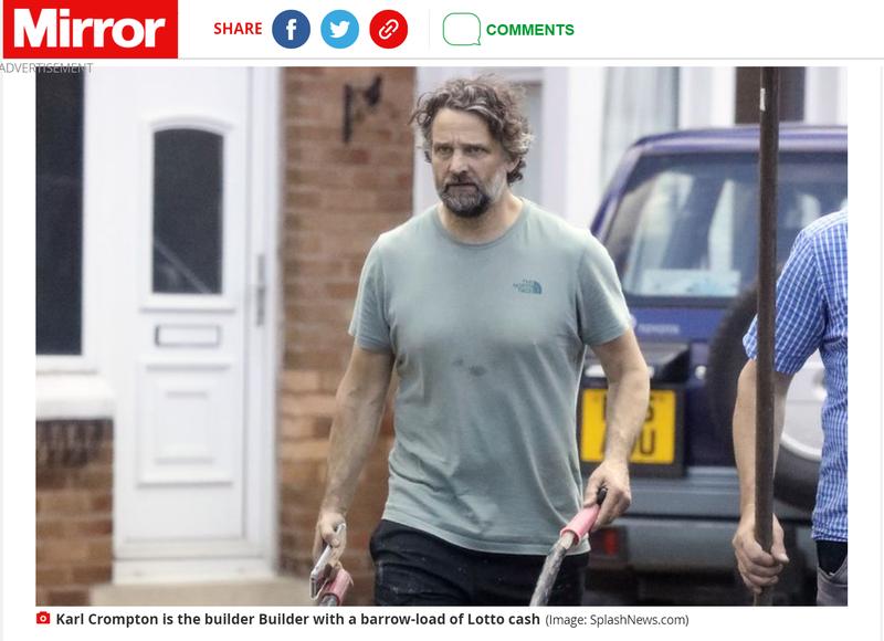英國48歲男子朗普頓於23歲時贏得1100萬英鎊(約新台幣4.28億元)的樂透,未料近日被外媒捕捉到憔悴在水泥工地工作的照片。(圖翻攝自鏡報)