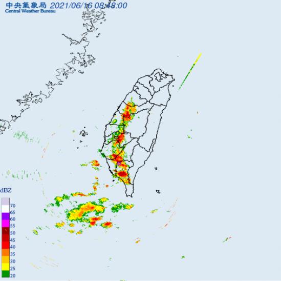 中央氣象局上午8時40分針對屏東縣發布編號0124大雷雨即時訊息。(擷取自中央氣象局)