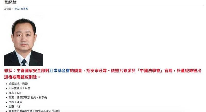海外華人圈盛傳,中國史上最高級別叛逃者是國安部副部長董經緯,他擔任副會長的中國法學會官網只剩文字介紹,照片已刪除,不過有網友保留照片存檔。(網站擷圖)