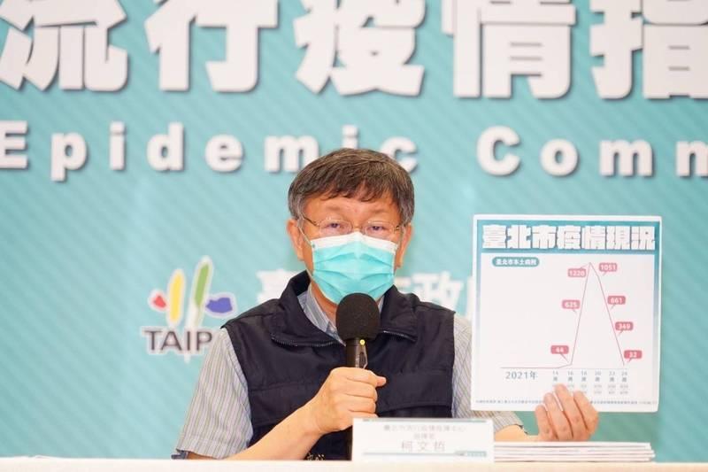 江啟臣爆料經濟部針對工業區進行疫苗造冊,要求員工若不願打國產疫苗就不列入。對此,台北市長柯文哲呵呵笑說,「政府終於不演了啦」。(台北市政府提供)