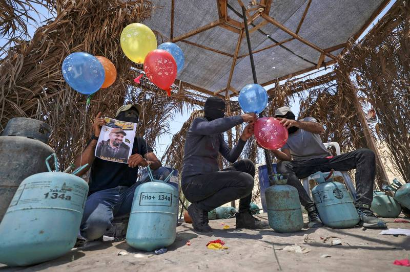 哈瑪斯用「縱火氣球」不斷騷擾以色列。(法新社)