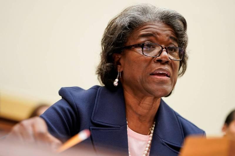 美國駐聯合國大使湯瑪斯—葛林斐德(Linda Thomas-Greenfield)16日出席聯邦眾議院外交委員會的聽證會。(路透)