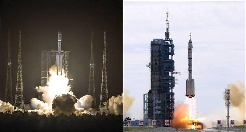 中國官方釋出消息,長征七號C運載火箭(左)殘骸、長征二號F運載火箭殘骸(右)接連墜落。(美聯社)