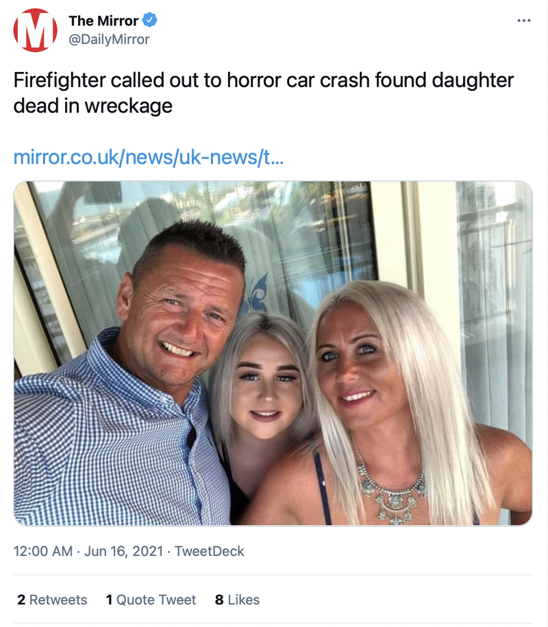 身為消防員的亞卓安(左)出任務搶救車禍傷患,竟發現在事故車輛殘骸中斷了氣的竟是女兒艾拉。(圖擷取自Twitter/@DailyMirror)