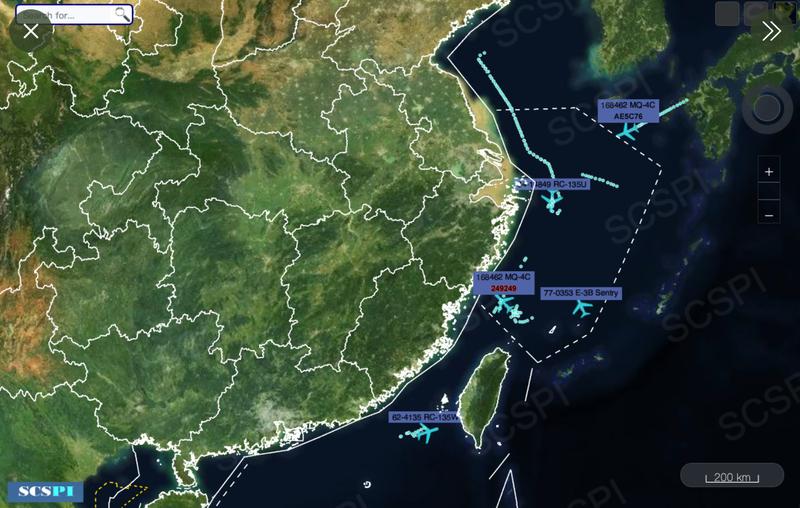 美國對中國的抵近偵察沒在怕,光是在16日這一天,美軍就同時派出1架E-3B空中預警機丶2架RC-135偵察機及2架MQ-4C無人機分別飛進台海南端丶東海及黃海海空域,嚴密監控中國的軍事動態。(圖:取自SCS推特)