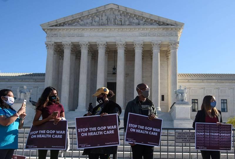 美國最高法院17日表明支持「歐記健保」,駁回了共和黨使該法無效的訴訟。(法新社)