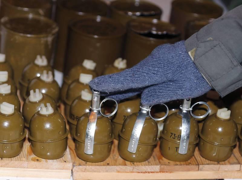 烏克蘭一名男子被圍毆拿出手榴彈反擊。「RGD-5手榴彈」示意圖。(歐新社)