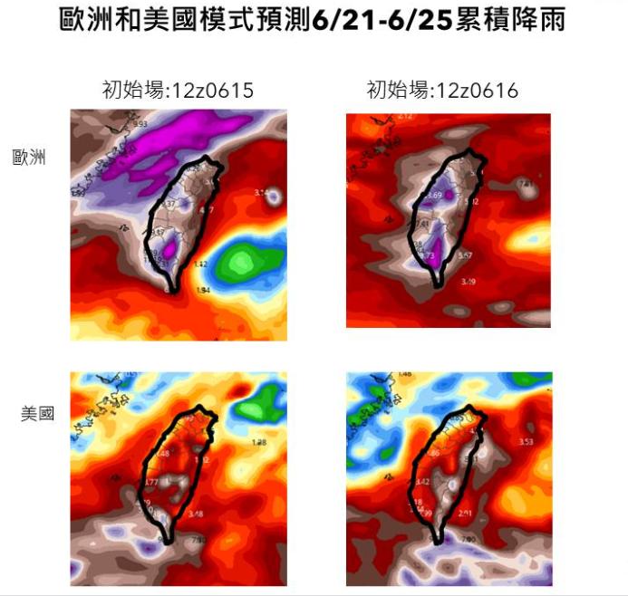 賈新興在臉書PO文指出,歐美模式口徑一致,均預估台灣下週天氣非常不穩定。(擷取自賈新興臉書)