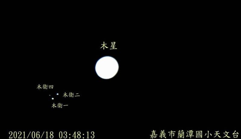 嘉義市蘭潭國小天文台觀測到木星月食現象,觀測影片可看到4號衛星變暗。(黃傅俊提供)