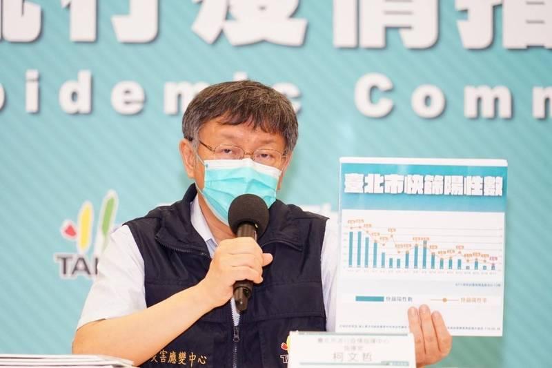 台北市長柯文哲說明疫情狀況。(台北市政府提供)
