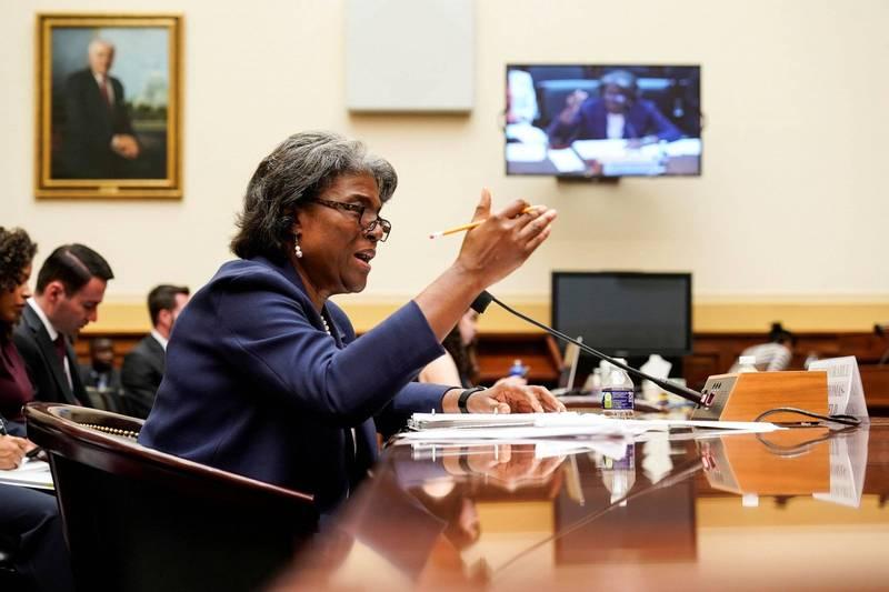 美國駐聯合國大使湯瑪斯—葛林斐德(見圖)16日在聯邦眾議院外交委員會聽證會中批評中國的以疫苗挑釁脅迫其他國家,我國外交部感謝美國大使揭發真相,國台辦對此大表不滿。(路透)