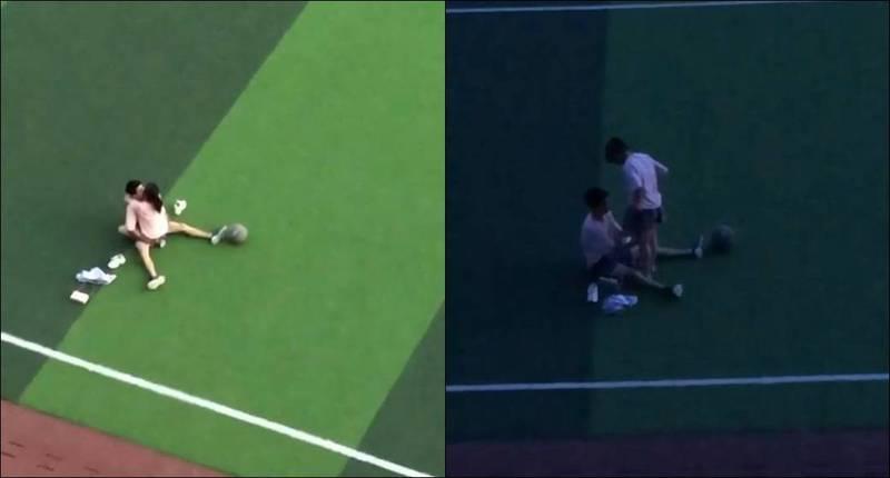 中國社群媒體上近日瘋傳1段影片,1對小情侶在操場上親密互動,濃情密意之下竟然開始「啪啪」直到太陽下山。(圖取自中國通訊軟體「土豆」)