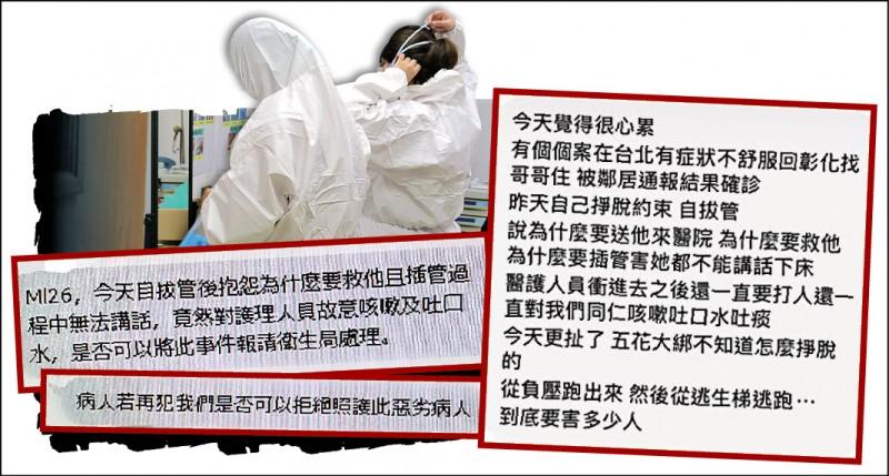 協助衛生局收治染疫確診個案的專責醫院,醫護人員面對病人無理取鬧和失控行為,內心備受煎熬。(民眾提供、張聰秋翻攝)