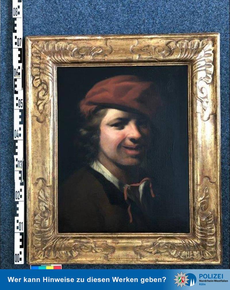 17世紀荷蘭畫家霍格斯特倫畫作在德國高速公路垃圾桶被發現。(圖擷取自德國科隆警方推特Polizei NRW K)