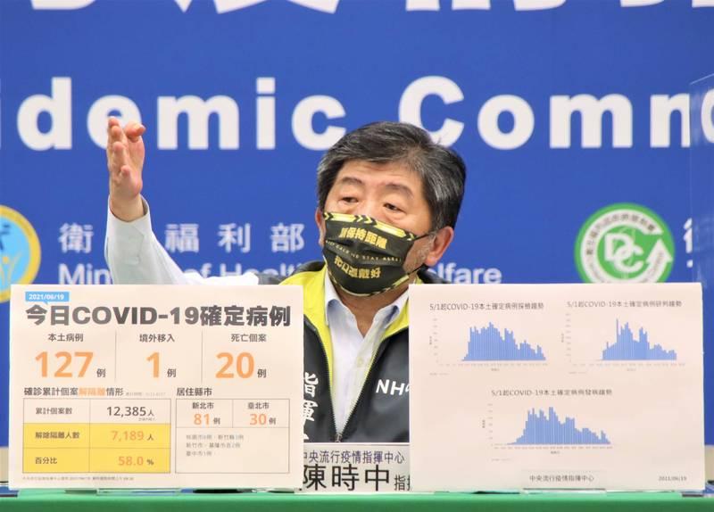 據傳明天將有2批莫德納武漢肺炎(新型冠狀病毒病,COVID-19)疫苗來台,疫情指揮中心指揮官陳時中表示「目前無法證實」。(指揮中心提供)