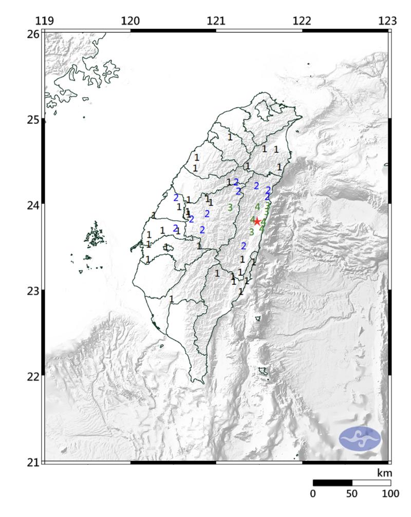 中央氣象局指出,今晚上10點50分左右左右花蓮地區發生中型有感地震,慎防強烈搖晃。(圖擷取自中央氣象局)