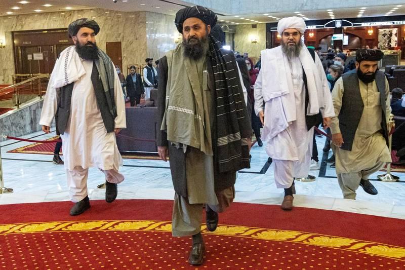 巴拉達(見圖中)表示,結束阿富汗衝突的唯一途徑,即在所有外國軍隊撤離後建立伊斯蘭教制度。(路透)