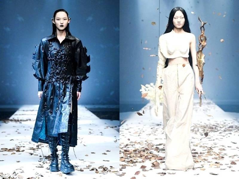 中國名校北京清華大學美術學院,時裝週活動模特兒的鳳眼造型被網友批評為「自我醜化、迎合西方文化」。(取自網路)