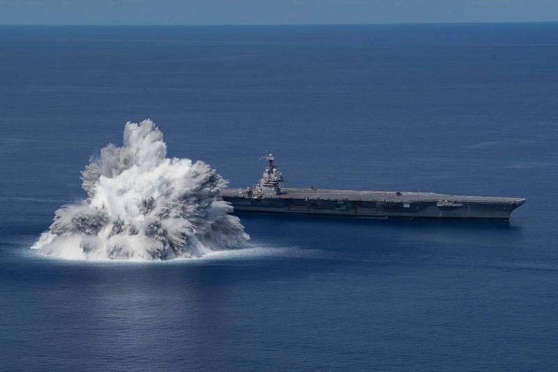 美國海軍福特級航空母艦首艦「福特號」6月18日接受了全艦衝擊測試。(取自美國海軍官網)