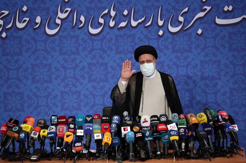 伊朗總統當選人萊希今日召開記者會接受訪問,他在會上表示,不打算與拜登見面。(歐新社)