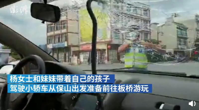 中國近日發生一起鋼筋插入行駛中汽車擋風玻璃的意外。(圖擷取自微博)