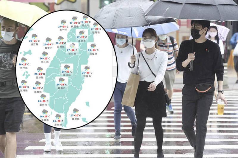 中央氣象局預報,明天受到滯留鋒面及西南風影響,全台降雨範圍擴大,易有短延時強降雨,其中西半部及東北部將有大雨或局部豪雨以上等級的機率。(本報合成)