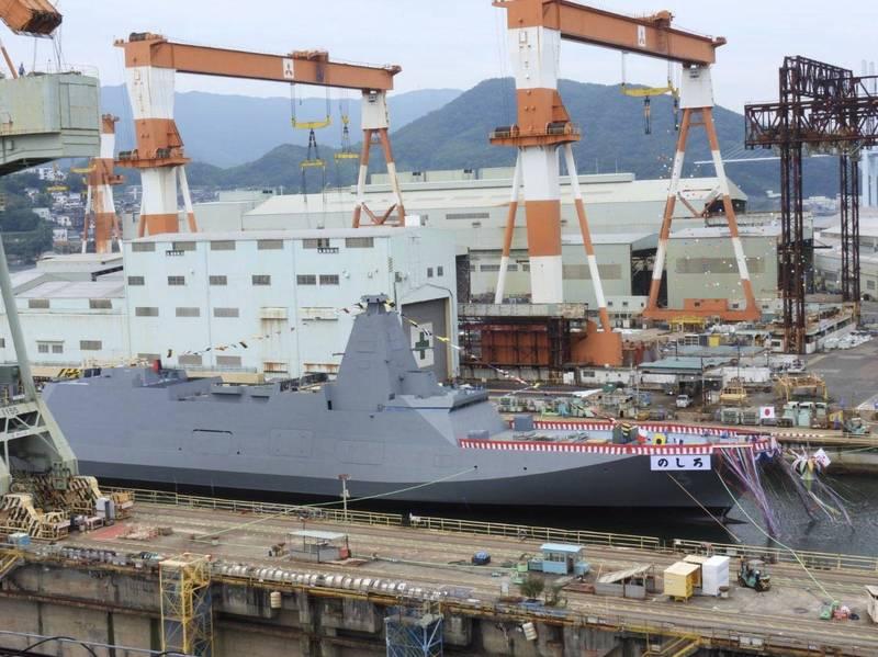 日本海上自衛隊最上級護衛艦3號艦「能代號」今在三菱重工的長崎造船所舉辦下水典禮,預計將在2022年服役。(圖擷自推特)