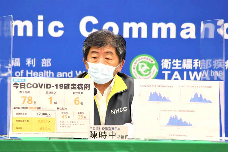 Minister of Health and Welfare Chen Shih-chung speaks at a news conference in Taipei yesterday. Photo courtesy of the Central Epidemic Command Center