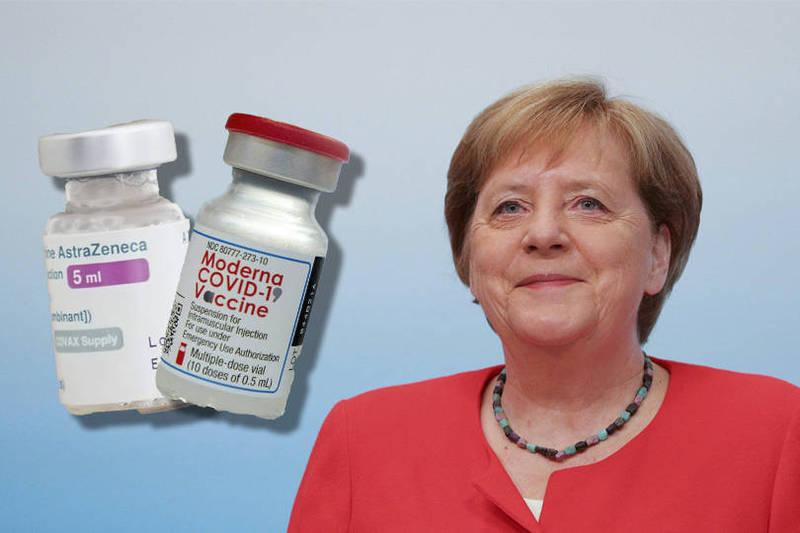 梅克爾4月16日就接種了第一劑,當時她接種的是AZ疫苗。(本報合成)