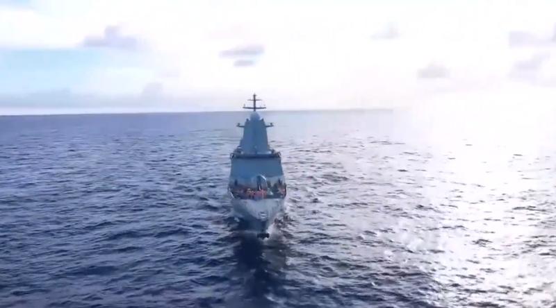 俄羅斯太平洋艦隊月中於太平洋中部舉行演習。(圖擷取自推特影片)