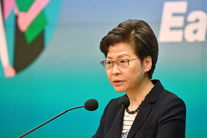 Hong Kong Chief Executive Carrie Lam speaks at her regular weekly news conference in Hong Kong yesterday. Photo: AFP