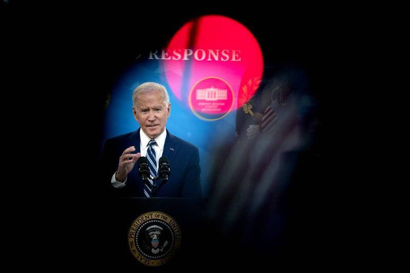 美國總統拜登3月29日在白宮記者會上說明疫苗接種計畫。(彭博社)