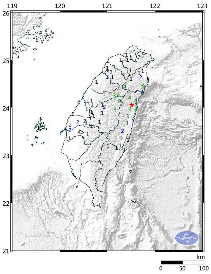 根據氣象局發布第047號地震報告,本次地震發生在下午1時40分許,於花蓮縣政府西北方13.3公里,震央位於北緯24.06度,東經121.51度,即花蓮縣秀林鄉,震源深度為21.4公里。(擷取自中央氣象局)