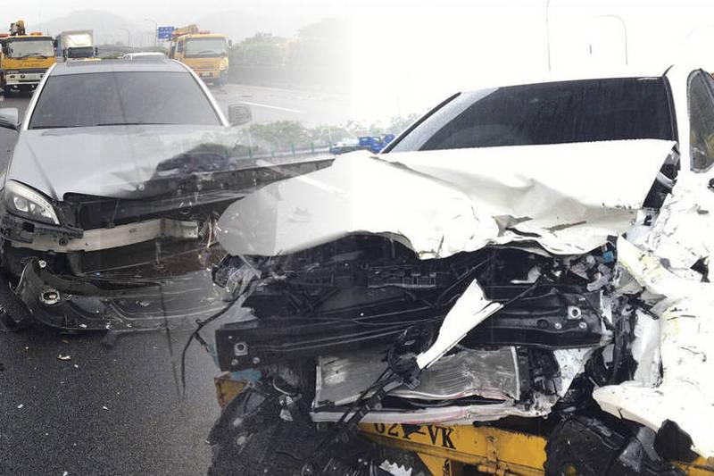 國道3號下47.3公里今天下午1點左右發生連環車禍。(本報合成)