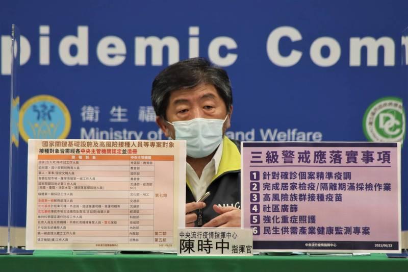 外界建議比照韓國「殘餘疫苗地圖」,開放30歲以上民眾預約打殘劑。中央流行疫情指揮中心指揮官陳時中今日表示,傾向開放,但待本週五全國防疫會議與各縣市討論。(指揮中心提供)