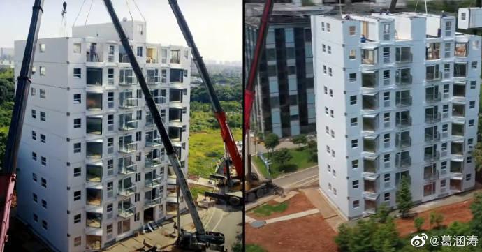 中國遠大集團在湖南省長沙市興建一棟10樓公寓住宅,號稱只花28個小時便建造而成,並在網路上傳4分多鐘的宣傳影片,美媒《CNN》也對此進行報導,雖然有人感到震驚,但更多國外網友傻眼直呼「我擔心它的耐用性」、「中國產品....不可靠」。(圖取自微博)