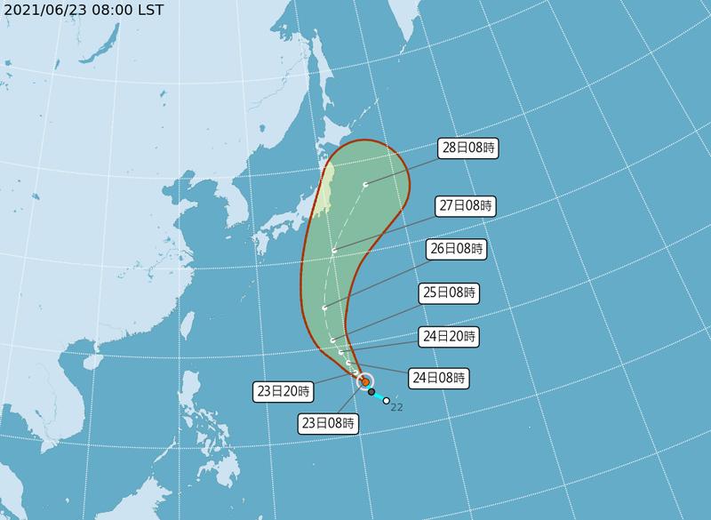 氣象局預估薔琵颱風未來將在遠洋北上,對台無影響。(圖擷自中央氣象局)