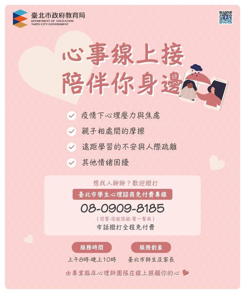 台北市教育局置「台北市學生心理諮商免付費專線」,引進30位專業臨床心理師,提供線上關懷與諮詢服務。(台北市教育局提供)