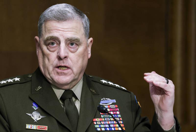 美軍參謀首長聯席會議主席密利(Mark Milley)23日表示,中國在1到2年內,不會軍事攻擊台灣。(美聯社)