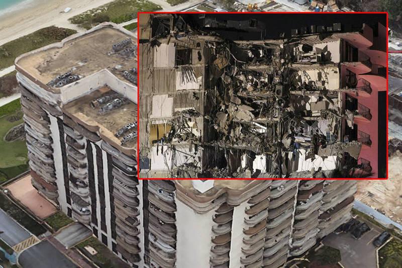 當地時間凌晨2點時,一棟12層樓的住宅大樓,突然垂直坍塌。(本報合成)