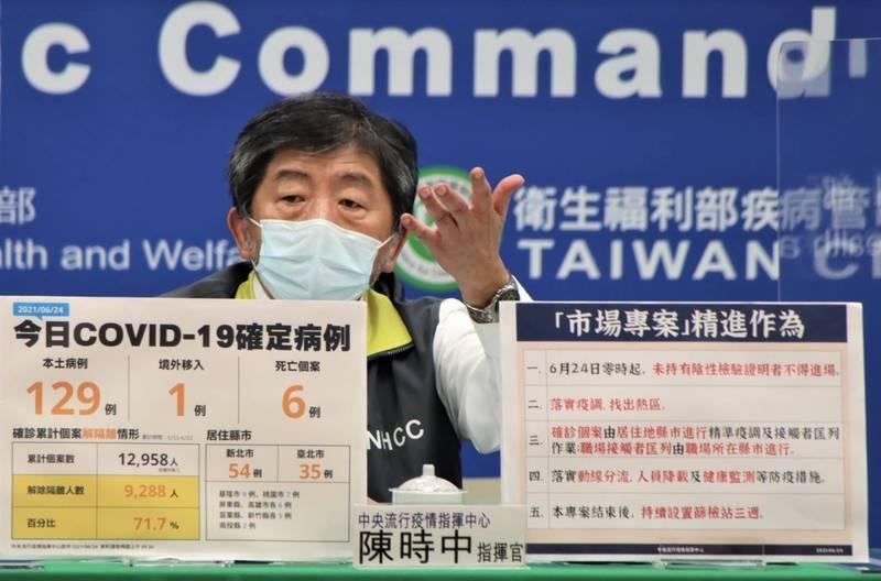 中央流行疫情指揮中心指揮官陳時中說,若持續有緩打潮,保留一部分疫苗給這些族群後,其餘就繼續往下開放。(指揮中心提供)