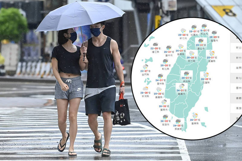 25日鋒面逐漸北移,西半部地區有局部短暫陣雨或雷雨。(本報合成)