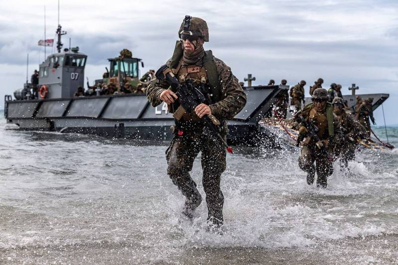 美軍陸戰隊2019年7月22日在美澳「護身軍刀」(Talisman Sabre)聯合軍事演習中,模擬兩棲攻擊。(取自美軍陸戰隊官網)
