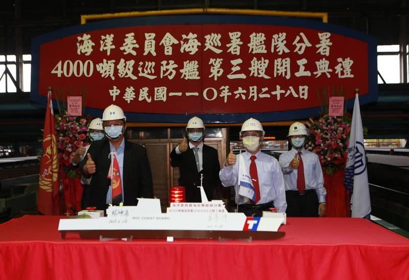 海巡署第3艘4000噸級巡防艦今天動工。(圖:台船提供)