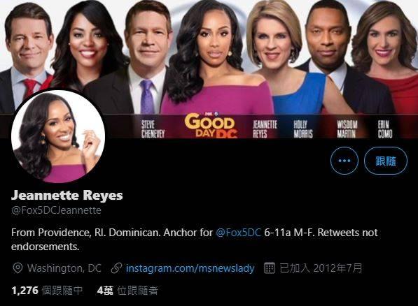 雷耶斯是《Fox 5晨間新聞》(FOX 5 Morning)與《日安華府》(Good Day DC)的主播,上月25日她在推特分享自己接到詐騙電話的影片。(圖取自Jeannette Reyes推特)